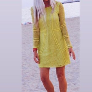 H&M neon green long sleeve lace mini dress size 4
